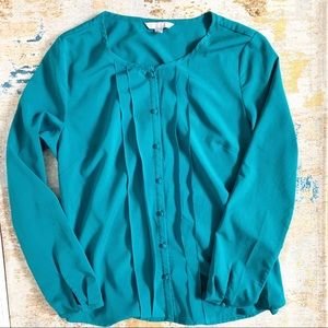 Banana Republic Teal Button Down Pleat Blouse M